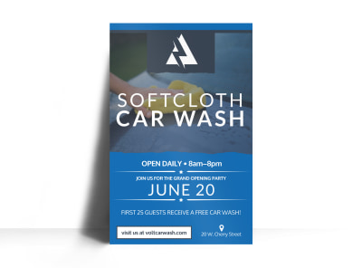 Soft Cloth Car Wash Poster Template