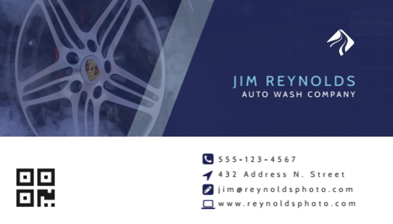 Blue Car Wash Business Card Template Preview 3