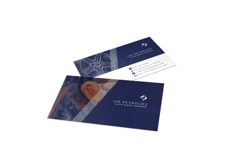 Blue Car Wash Business Card Template Preview 1