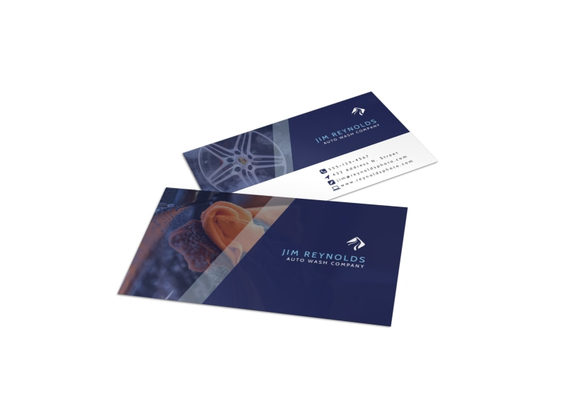 Blue Car Wash Business Card Template Preview 4