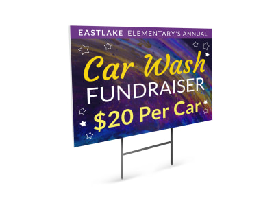Car Wash Galaxy Yard Sign Template preview