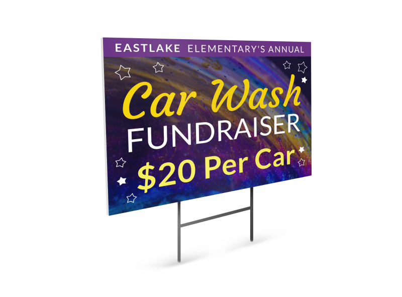 Car Wash Galaxy Yard Sign Template Preview 1