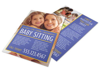 Reliable Babysitting Flyer Template preview