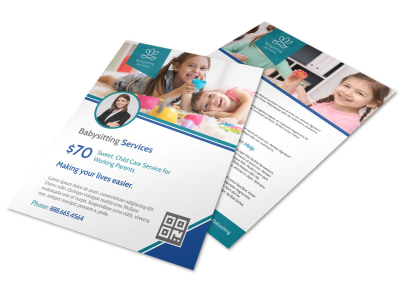 Pro Babysitting Service Flyer Template preview
