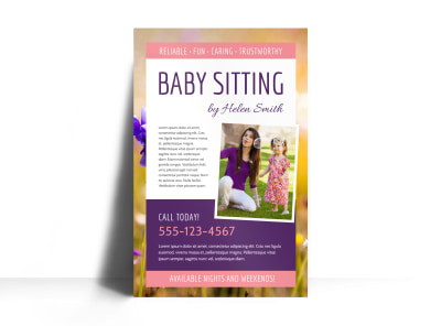Babysitting Poster Template preview