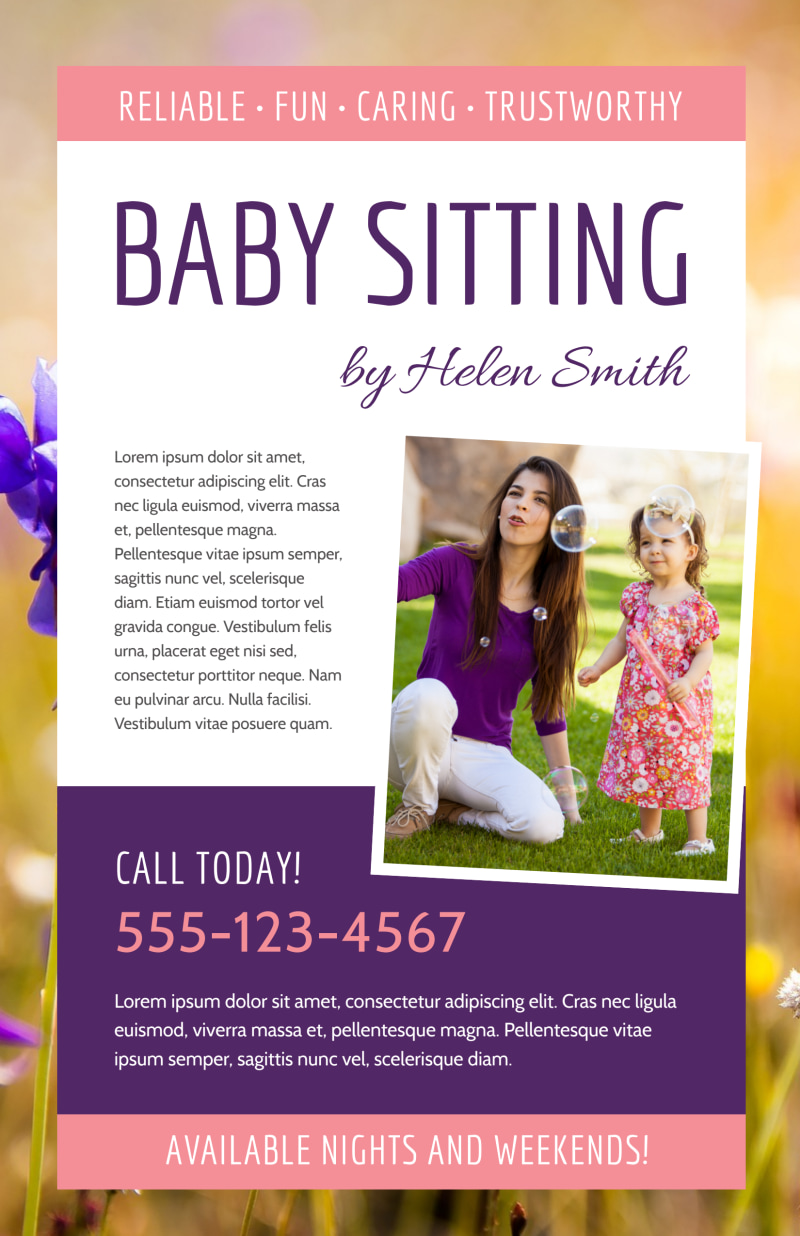 Babysitting Poster Template Preview 2