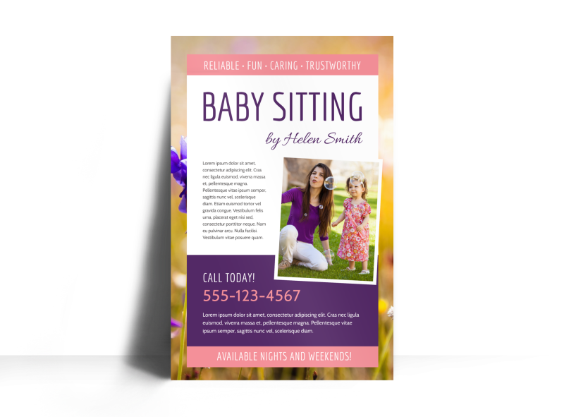 Babysitting Poster Template Preview 1