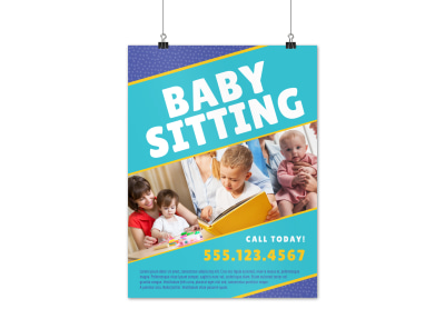 Best Babysitting Poster Template preview