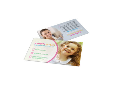 Babysitting Service Business Card Template preview