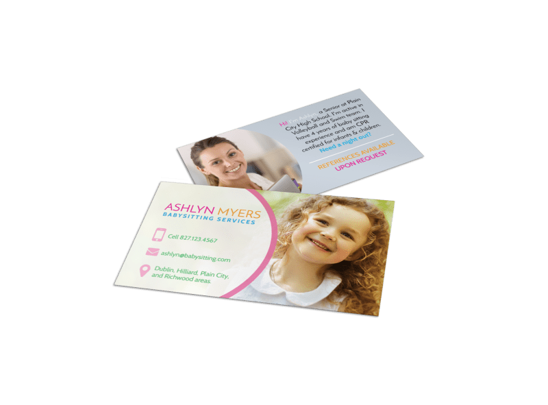 Babysitting Service Business Card Template Preview 1