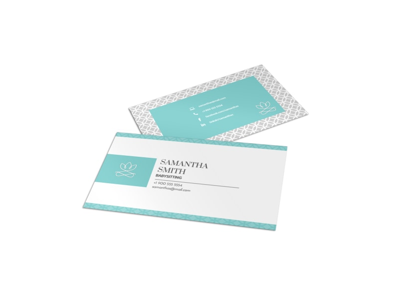 Teal Babysitting Business Card Template Preview 4