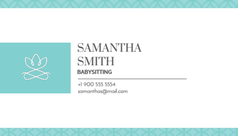 Teal Babysitting Business Card Template Preview 2