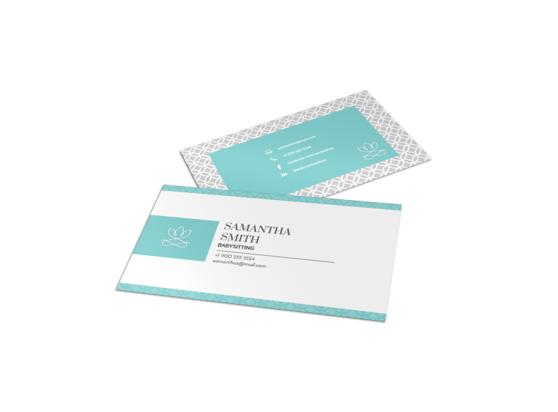 Teal Babysitting Business Card Template Preview 1