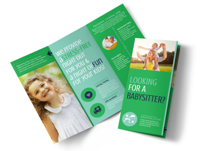 Babysitting Service Tri-Fold Brochure Template preview