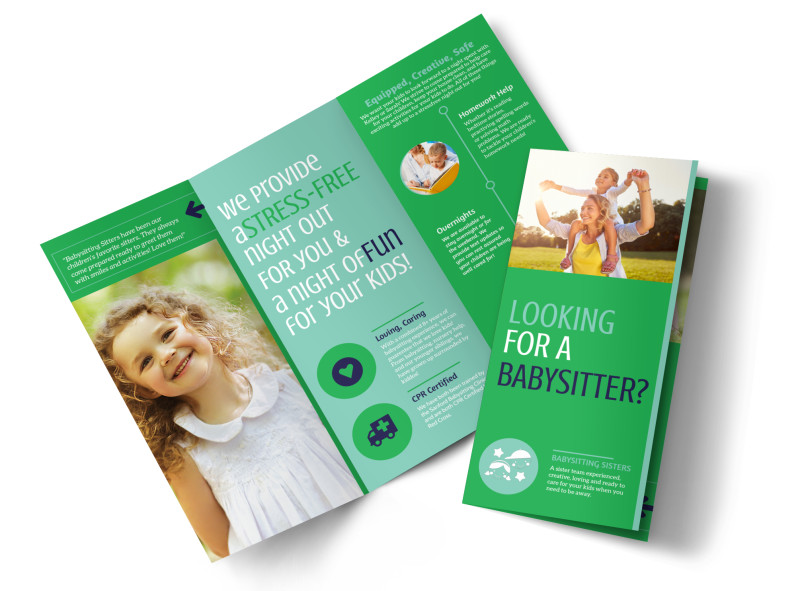 Babysitting Service Tri-Fold Brochure Template