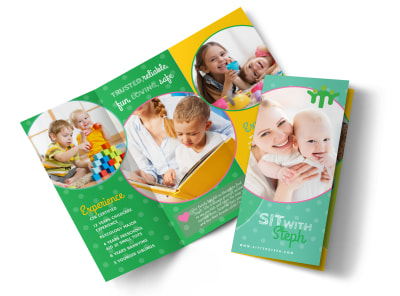 Babysitting Business Tri-Fold Brochure Template preview