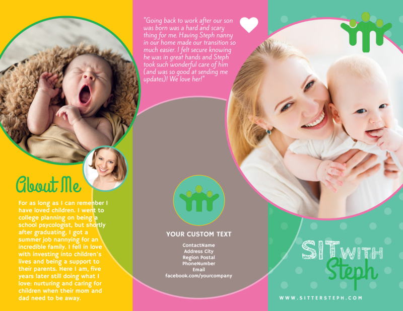 Babysitting Business Tri-Fold Brochure Template Preview 2