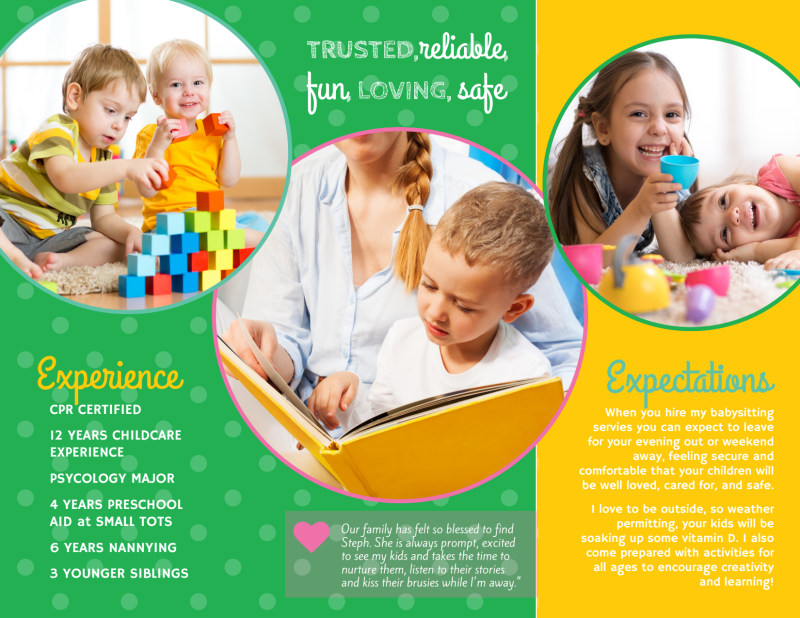 Babysitting Business Tri-Fold Brochure Template Preview 3