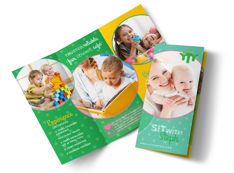 Babysitting Business Tri-Fold Brochure Template Preview 1