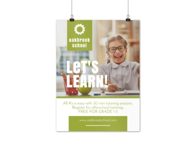 School Tutoring Poster Template preview