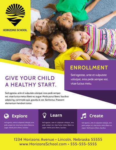 School Enrollment Flyer Template Preview 1
