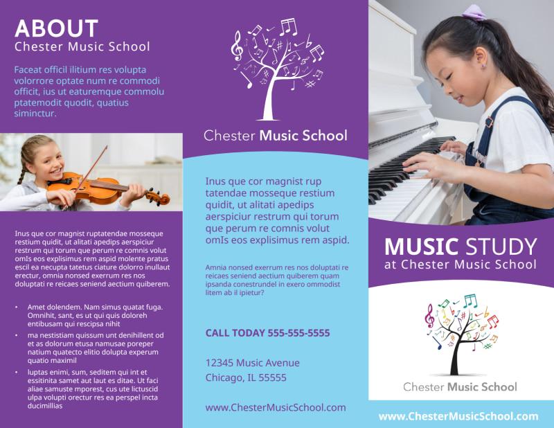 Music Study School Tri-Fold Brochure Template Preview 2