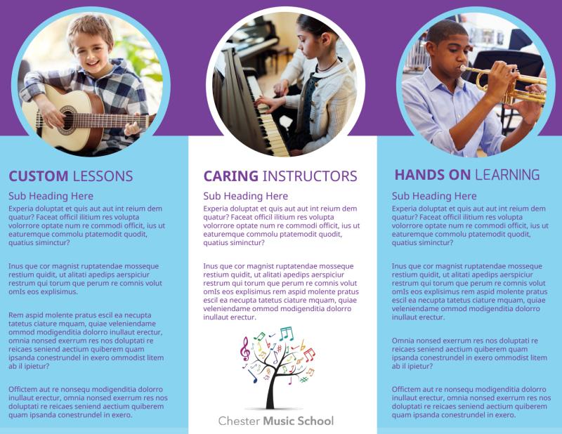 Music Study School Tri-Fold Brochure Template Preview 3