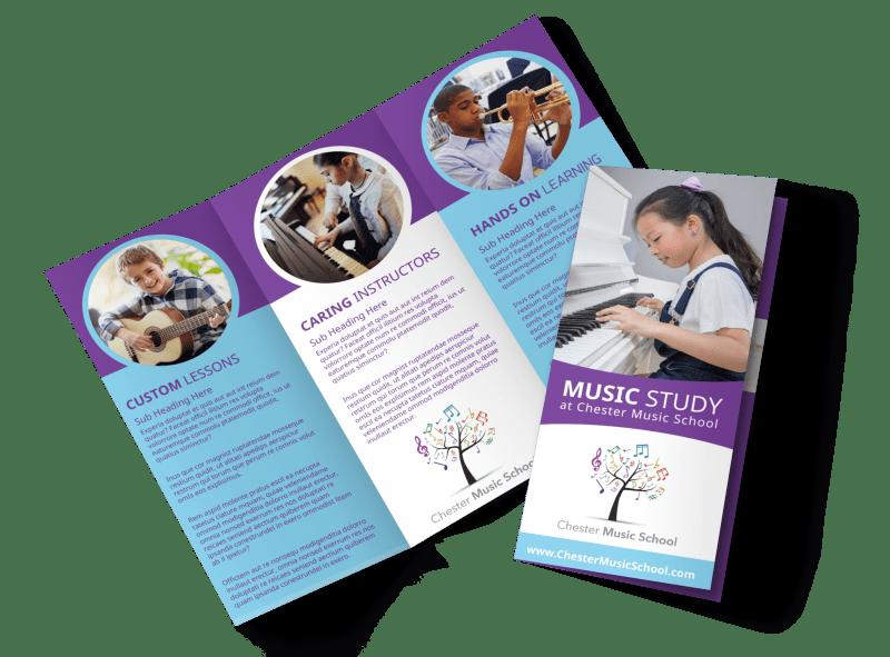 Music Study School Tri-Fold Brochure Template Preview 1