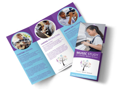 Music Study School Tri-Fold Brochure Template preview