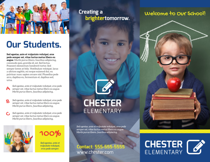 School Welcome Tri-Fold Brochure Template Preview 2