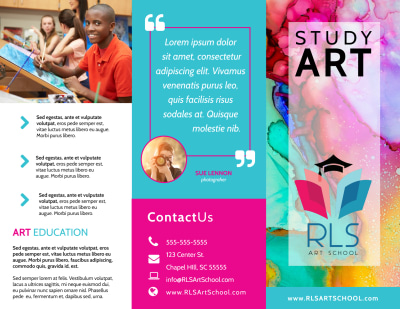 Awesome Art School Tri-Fold Brochure Template Preview 1