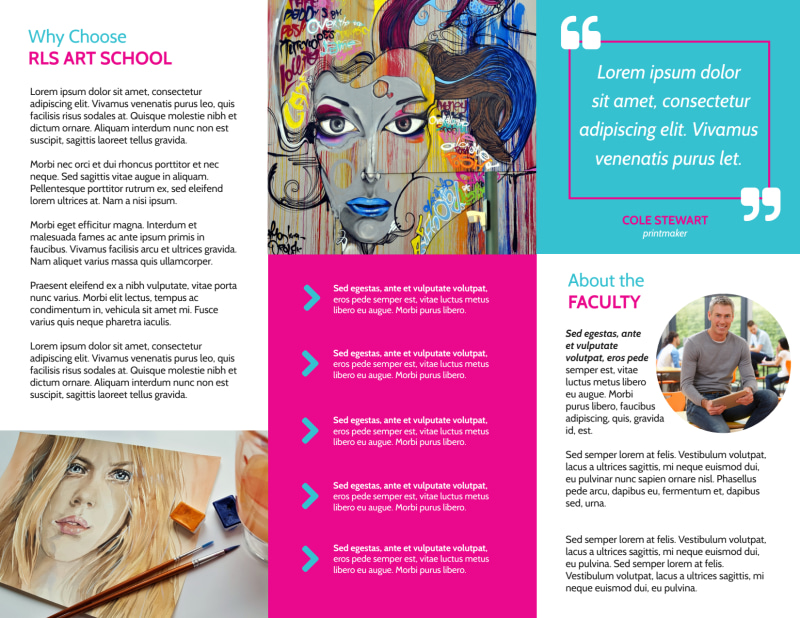 Awesome Art School Tri-Fold Brochure Template Preview 3