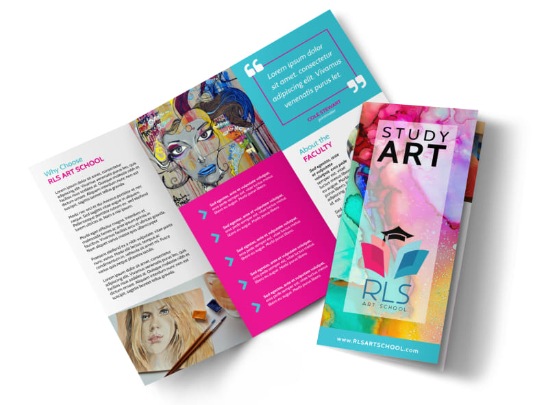 Awesome Art School Tri-Fold Brochure Template Preview 4