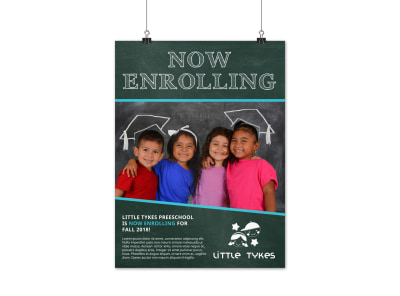 Preschool Enrollment Poster Template preview