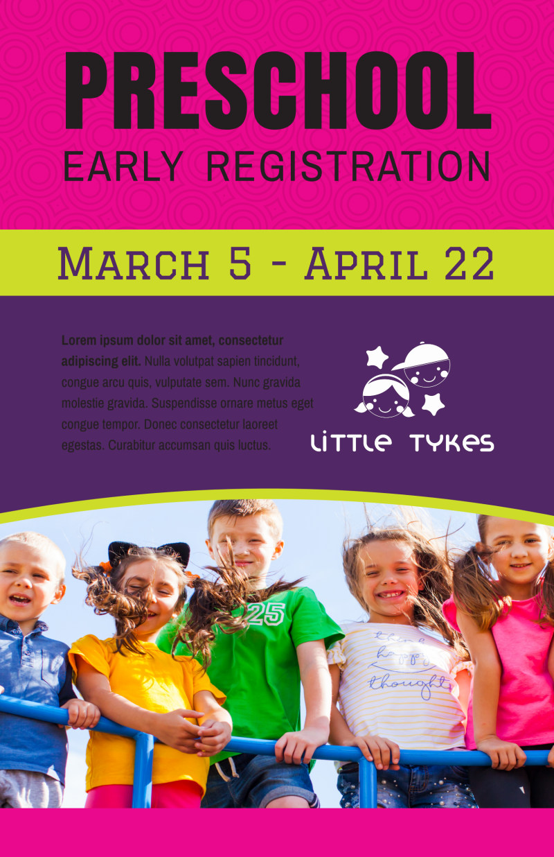 Preschool Early Registration Poster Template Preview 2