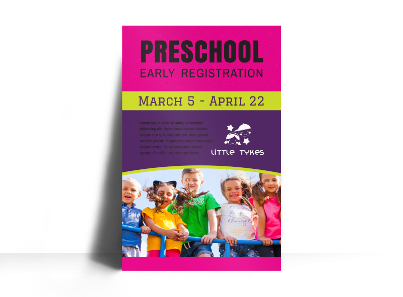 Preschool Early Registration Poster Template Preview 1