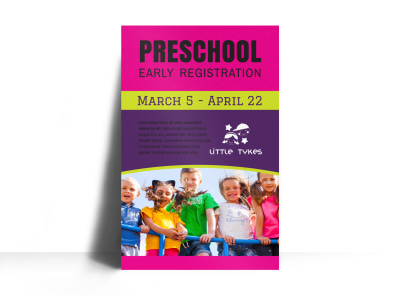 Preschool Early Registration Poster Template