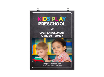 Preschool Open Enrollment Poster Template