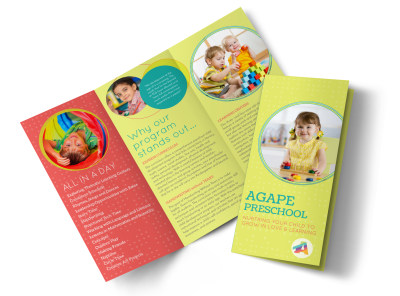 Agape Preschool Tri-Fold Brochure Template preview