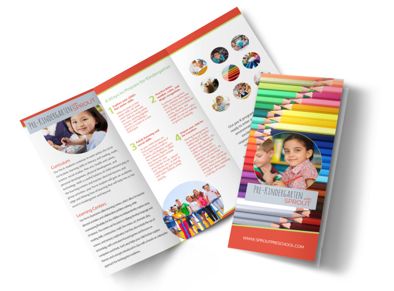 Kindergarten Brochure Template | Pre Kindergarten Tri Fold Brochure Template Mycreativeshop