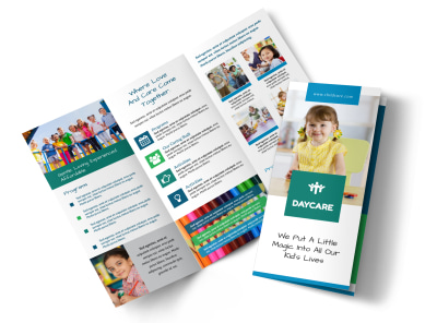 little daycare tri fold brochure template