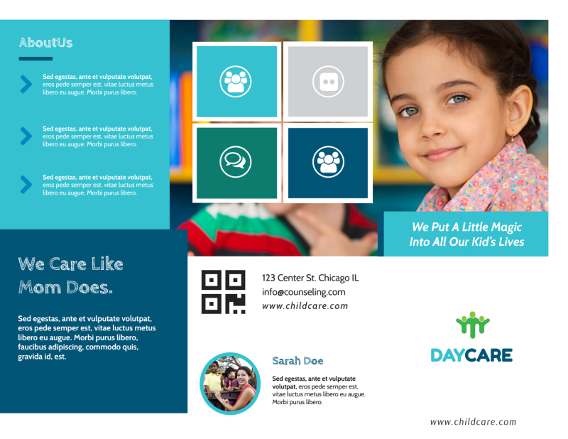 Great Daycare Tri-Fold Brochure Template Preview 2