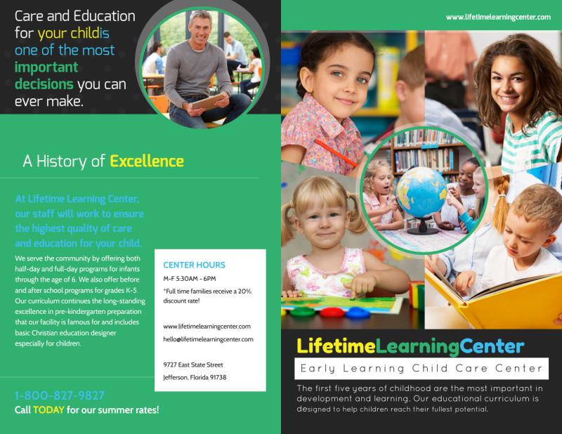 Lifetime Learning Center Bi-Fold Brochure Template Preview 2