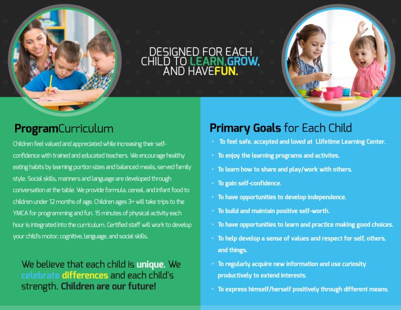 Lifetime Learning Center Bi-Fold Brochure Template Preview 3