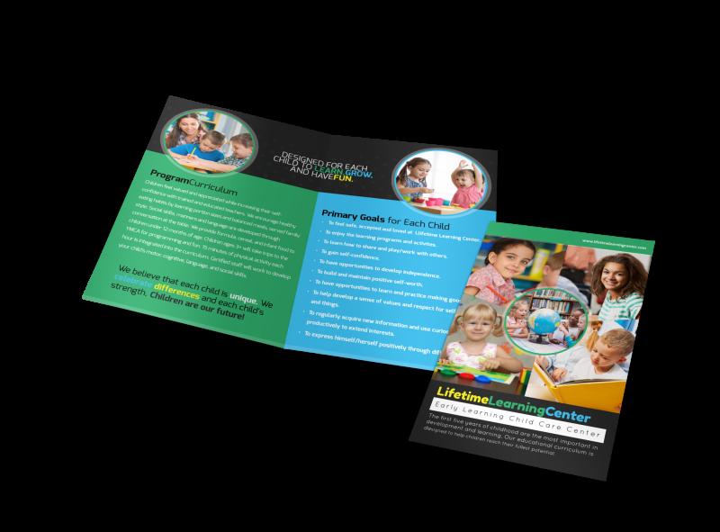 Lifetime Learning Center Bi-Fold Brochure Template Preview 1