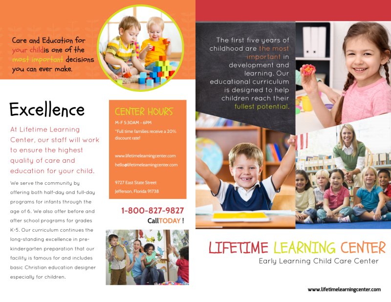 Lifetime Learning Bi-Fold Brochure Template Preview 2