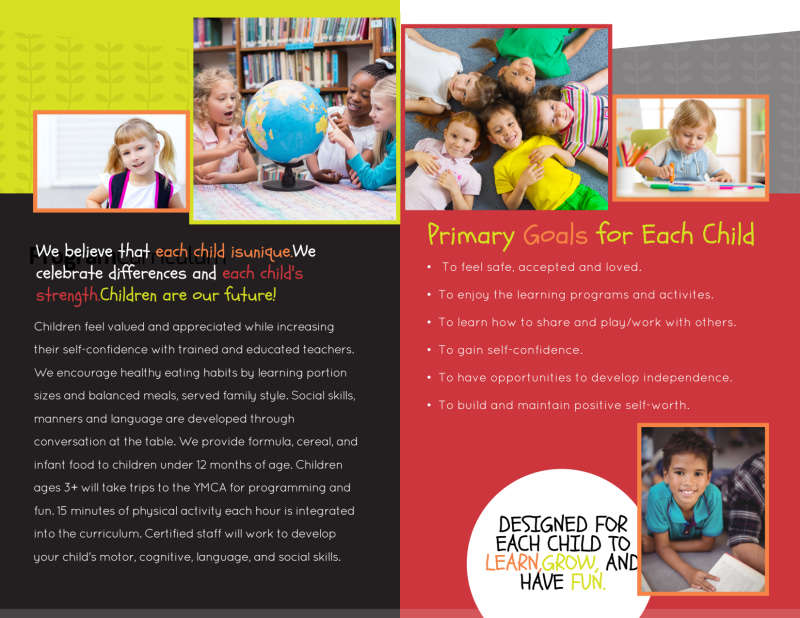 Lifetime Learning Bi-Fold Brochure Template Preview 3