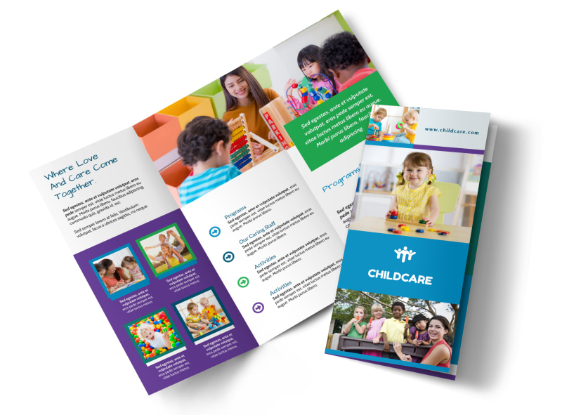 fun daycare tri fold brochure template