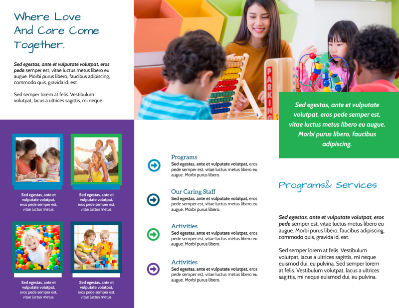 Fun Daycare Tri-Fold Brochure Template Preview 3