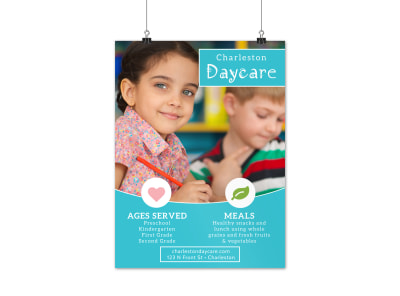 Blue Daycare Poster Template preview